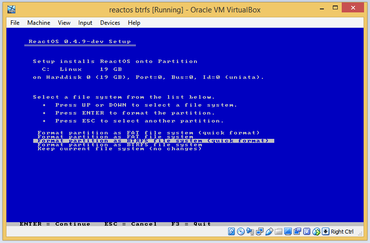 ReactOS installer with BTRFS