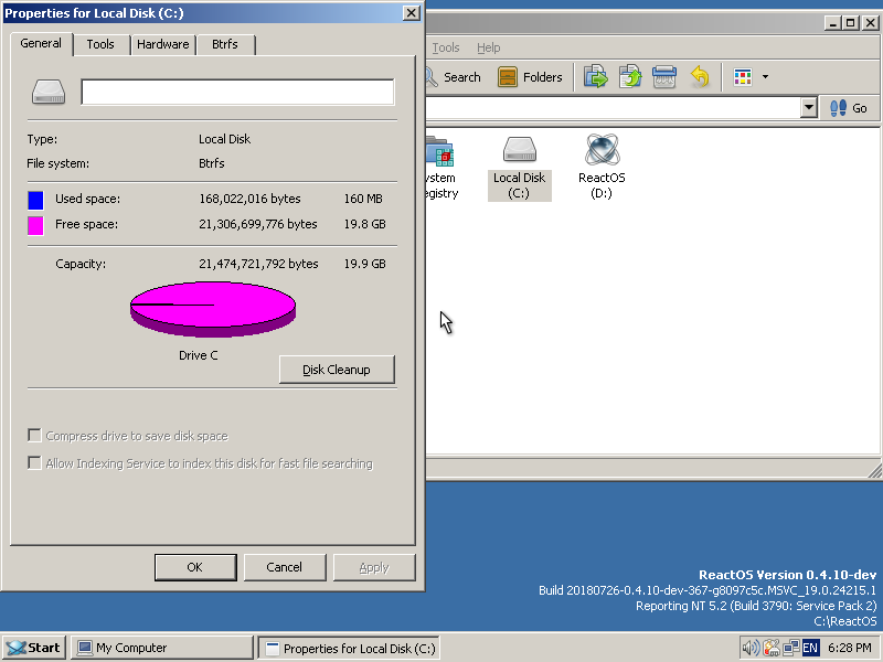 ReactOS booted from BTRFS partition