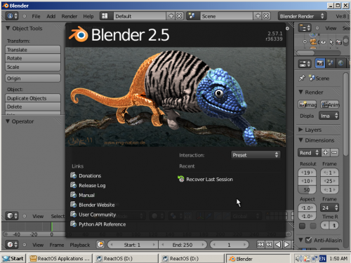 Blender 2.57b running within ReactOS