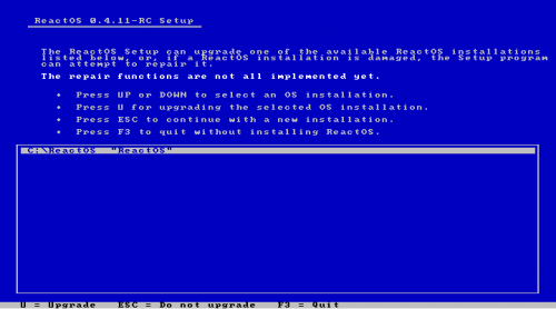 Screenshot of the ReactOS text mode setup with upgrade option