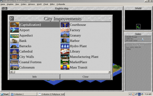 Screenshot of Civilization II Multiplayer Gold Edition 1.3 running on ReactOS
