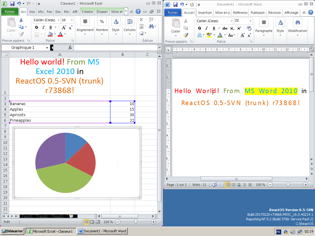 Excel and Word 2010 running on ReactOS r73868