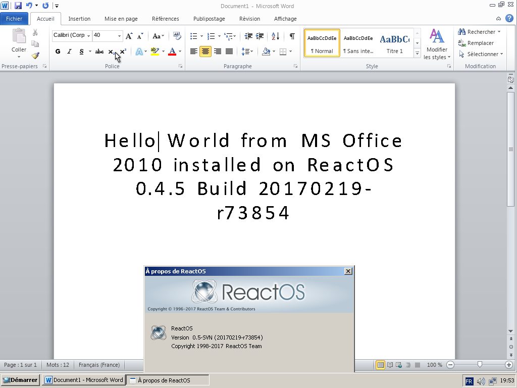 Word 2010 on ReactOS r73854