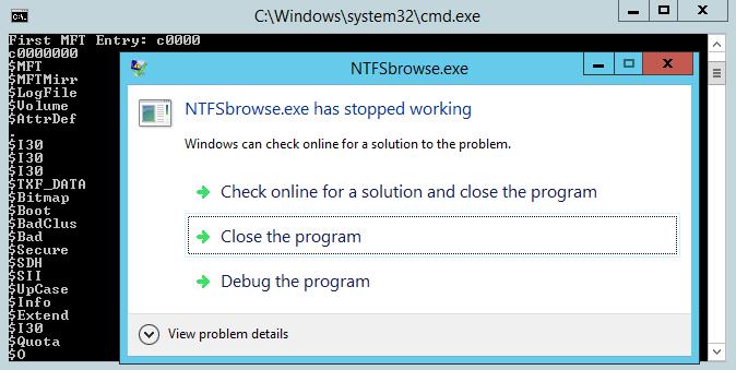 NTFS Browser Screenshot