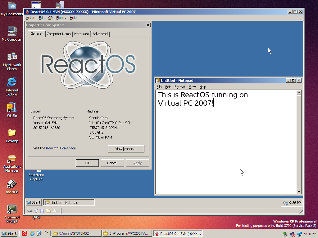 ReactOS on VPC 2007