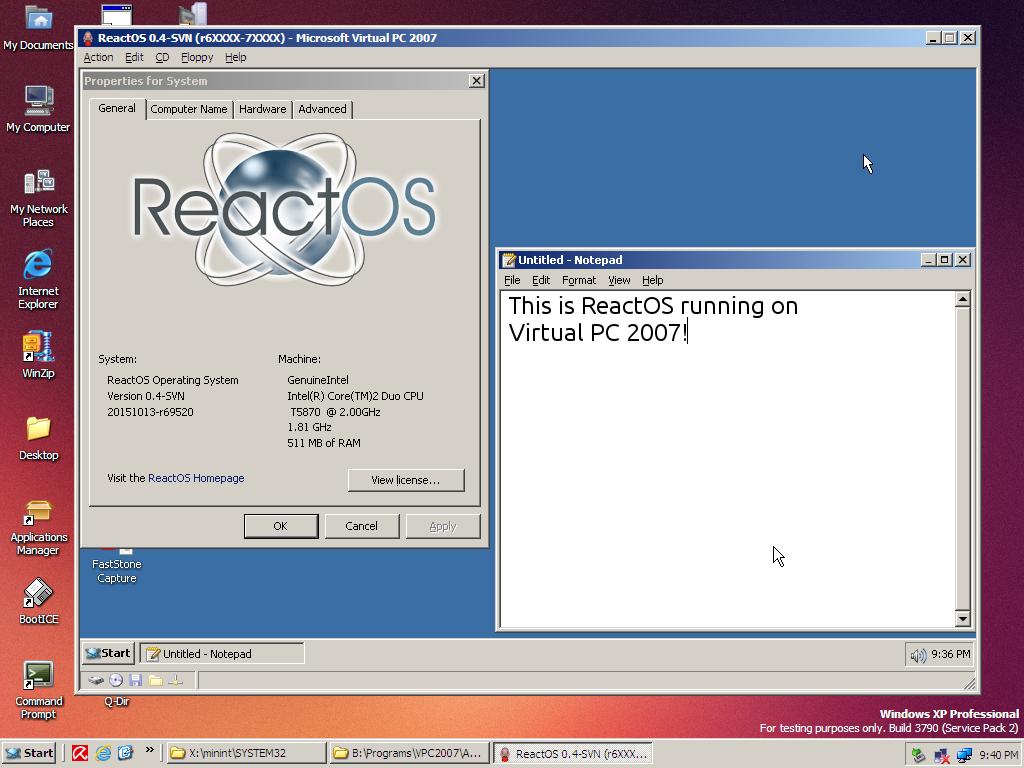 ReactOS on VPC 2007