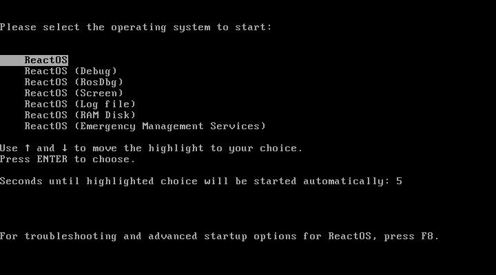 ReactOS - (Debug) - (RosDbg) - (Screen) - (Log file) - (Ram disk) - (Emergency Management Services)
